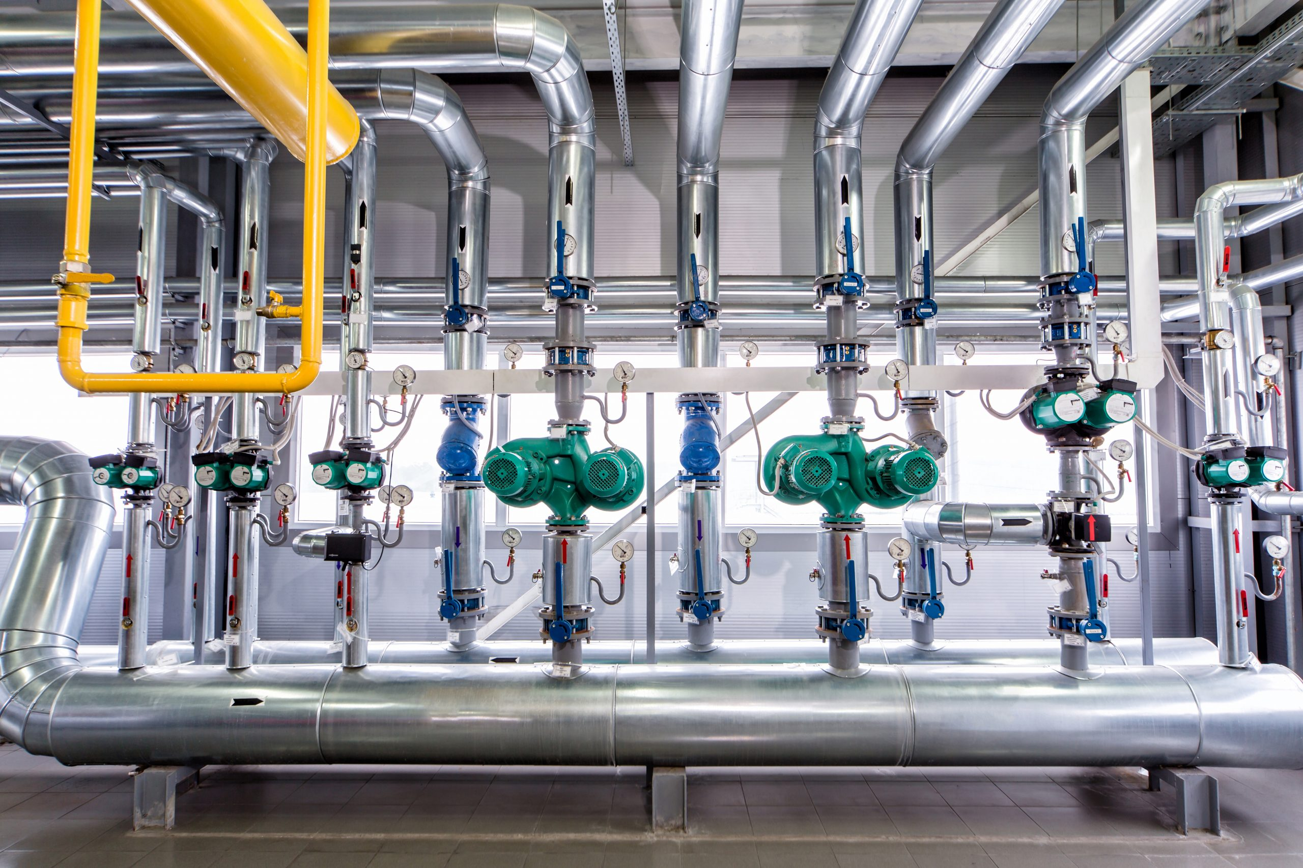Interior,Of,An,Industrial,Boiler,,The,Piping,,Pumps,And,Motors